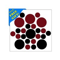 Set of 50 - Burgundy / Black Circles Polka Dots Vinyl Wall Decals Stickers [Peel and Stick Graphic Mural Decal Circle Dot Kit Appliques]