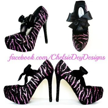Zebra Glitter High Heels, Pink Striped Platform Prom Pumps
