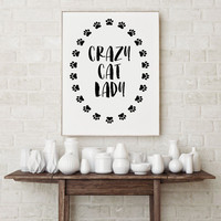 minimalist cat printable, wall art decor, black cat poster Cat typography, Crazy Cat Lady, typographic print in black and white, Cats paws