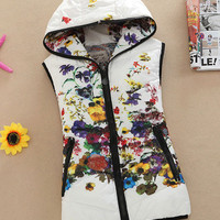 Floral Print Hooded Zip Up Padded Vest