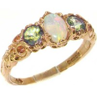 Ladies Solid 14K Yellow Gold Natural Opal & Peridot English Victorian Trilogy Ring - Size 8.5 - Finger Sizes 5 to 12 Available - Perfect Gift for Birthday, Christmas, Valentines Day, Mothers Day, Mom, Mother, Grandmother, Daughter, Graduation, Bridesmaid.