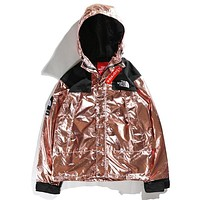 Supreme & The North Face Newest Fashionable Couple Metal Color Hoodie Cardigan Jacket Coat Windbreaker Rose Golden