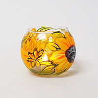 Candle Holder Sunflowers Hand painted Glass sphere Tea light holder Home decor Wedding candle holder Mother'sday gift Romantic Flowers