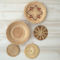 Woven Wall Basket Collection,  Wicker Wall Baskets, Medium and Small Flat Baskets