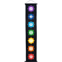 Chakras Cotton Banner in black