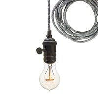 Dark Sweater Cloth Cord & Black Bare Bulb Pendant Light