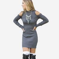 New 2015 Winter Sexy Bodycon Dress Off Shoulder Long Sleeve Women Dress Knitted Pencil Casual Mini Dresses Lady One Piece Dress