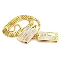 """NEW RAPPER DOUBLE DOG TAG 18k GOLD FILLED W 30"""" BALL CHAINS DTC001GS"""