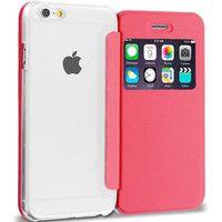 Light Pink Slim Hard Wallet Flip Case Cover Clear Back With Window for Apple iPhone 6 Plus 6S Plus (5.5)