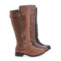 Paper1 Knee High Round Toe Quilted Shaft Zip Up Riding Boots