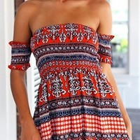 Red White Blue Geometric Short Sleeve Off The Shoulder Skater Circle A Line Flare Mini Dress