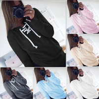 Women Long Sleeve Solid Color Hoodie Sweatshirt Sweater Lace Hooded Coat [9324247300]