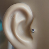 Skull tragus / cartilage /helix earing 1pc by PiercingRoom on Etsy