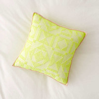 Neon Geo Textured Throw Pillow | Urban Outfitters