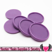 Purple 1 inch Round Cameo Settings 25mm Resin Bezel 10 pieces