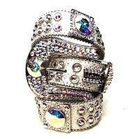 B.B. Simon Big Block White Swarovski Crystal Belt