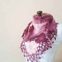 Pink Mohair Flored Scarf / Women Chic Scarf / Crochet Handmade Scarf / Corchet Shawl / Scarves with extra soft high quality yarn