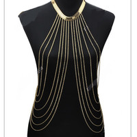 New Designer body chain Female Fashion Jewelry, Gold Sexy Body Chain, Women Necklaces Pendants Tassel, Alloy Punk Long Necklace,