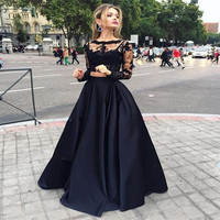 On Sale Two Piece Prom Dress 2017 Long Sleeves Lace Black Long Prom Dresses Sexy Formal Party Gown Vestidos de Festa