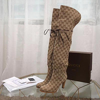Gucci Rope Drawstring Canvas Lace-up Knee length high tube women boots brown