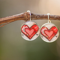 Heart Earrings, Boho Chic Inspirational Jewelry, Red Earrings, Photo Jewelry, Love Art Jewelry, Picture Earrings Jewellery, Love Gift Idea