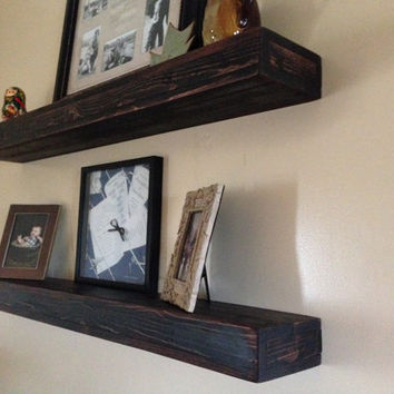 Rustic Wood Floating Shelves