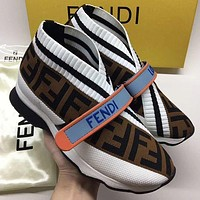 FENDI new couple color-blocking letter embroidery casual shoes