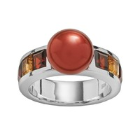 Freshwater by Honora Sterling Silver Dyed Freshwater Cultured Pearl, Garnet and Citrine Ring (Pearl/Silver/Cherry)