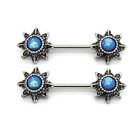 Nipple Barbells Ring Tribal Flower Aqua Blue Opal Stainless Steel 14G Body Piercing Set 2PC