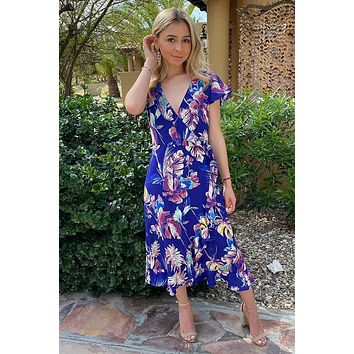 Only In Dreams Blue Floral Print High Low Wrap Dress