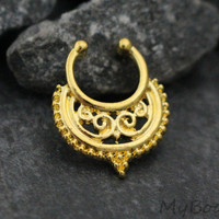 Gold Faux Septum Ring, Brass Fake Septum, Tribal Septum Ring, Piercing, Nose Clip, Clip On, Nose Hoop, Indian, Victorian, Horseshoe, Beaded