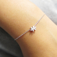 Tiny, Puzzle, Bracelet, Silver, Simple, Dainty, Charm, Bracelet, Pendant, Bracelet, Cute, Birthday. Friendship, Best Friend, Gift, Jewelry