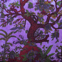 Tree Of Life Tapestry Purple Home Decor Wall Hanging Large Table Runner Bed Cover Indian Art 82 X 54 Inches
