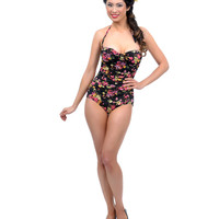 Vintage 1950s Style Pin Up Black Floral Confetti Swimsuit
