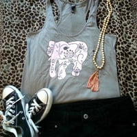Pink elephant tank top for trendy girl