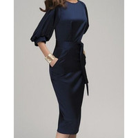 Classic Stylish Round Collar 3/4 Sleeve Tie Dress with Pockets