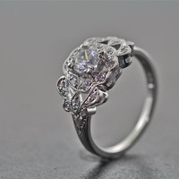 14kt White Gold and Diamond Estate Style Art Deco Design Engagement Ring With A .50 Carat Sapphire Center