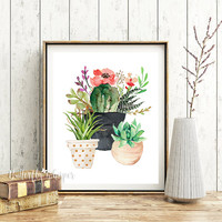 Cactus wall art, Succulent wall art, Printable cactus decor, Flower wall art, Flowers decoration, Kitchen print, Flower pots, ART DOWNLOAD
