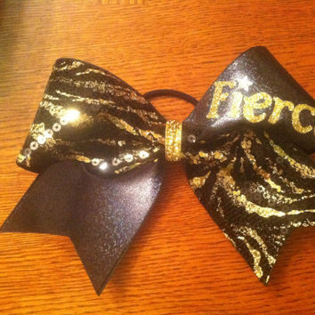 """3"""", 3 inch All Star Cheer Bow BLING and sequins FIERCE gold and black zebra"""