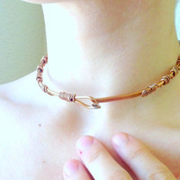 Copper Hammered Choker Necklace - Custom, Handmade, Collar, Neck Cuff, Wire Wrapped, Minimalist, Artistic, Hammered, Earthy, Metal, BDSM