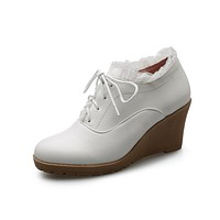 Spring and Autumn High-heeled Laces Women Platform Wedges Shoes