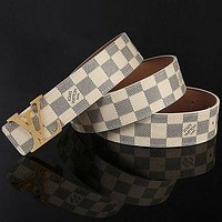 LV Louis Vuitton men's and women's smooth buckle belt