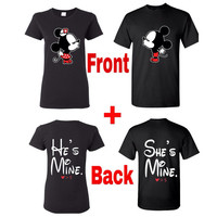 Mickey and minnie kissing with he's mine and she's mine couples t-shirt, couples t-shirt, matching couples t-shirt