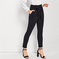 Black Elegant Office Lady Slant Pocket Waist Belted Mid Waist Solid Tapered Pants New Workwear Women Trousers