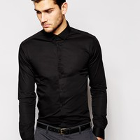 ASOS Skinny Fit Shirt In Black With Long Sleeves