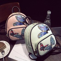 Children Butterfly Embroidery Backpack Boys Girls Travel Bags School Bags Kids PU Leather Bag  Women's Mini Backpack