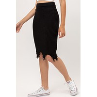 Solid High Waisted Frayed Knit Midi Sweater Skirt