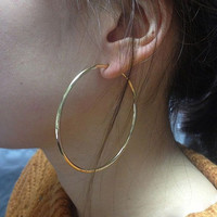 Clip On Fake Earrings, Ear Hoops, Gold Earrings 6cm 60mm Diameter, Only Wear Without Pierced Ears