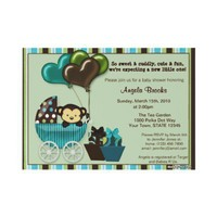 Monkey Baby Shower Invitation TEAL from Zazzle.com