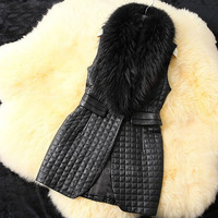 New Women's Long Vest Faux Fur Collar Synthetic Leather Waistcoat Jacket FT = 1932714180